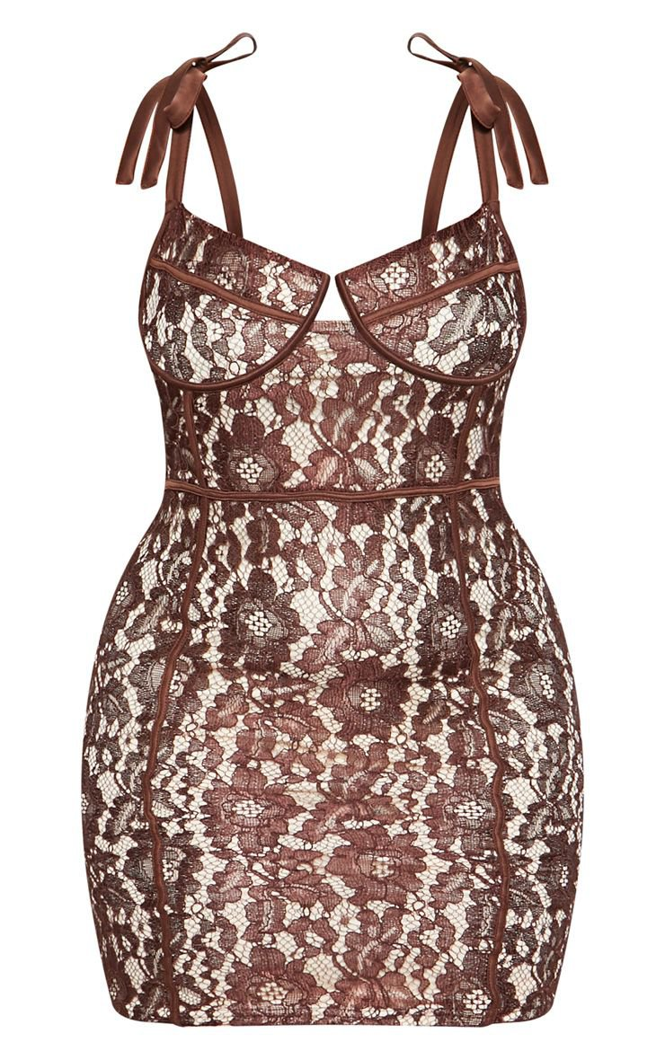 Chocolate Brown Lace Tie Strap Bodycon Dress | PrettyLittleThing USA