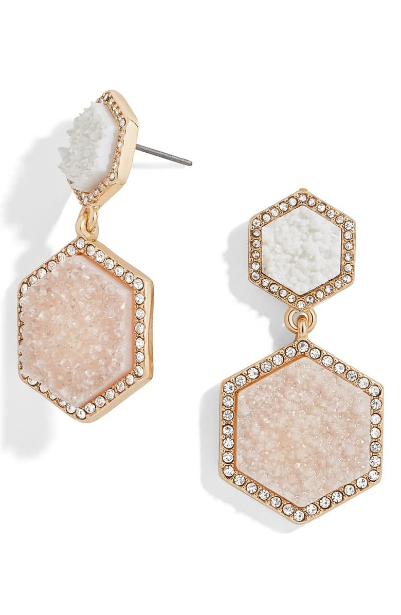 BaubleBar Ashaya Hexagon Drusy Drop Earrings | Nordstrom
