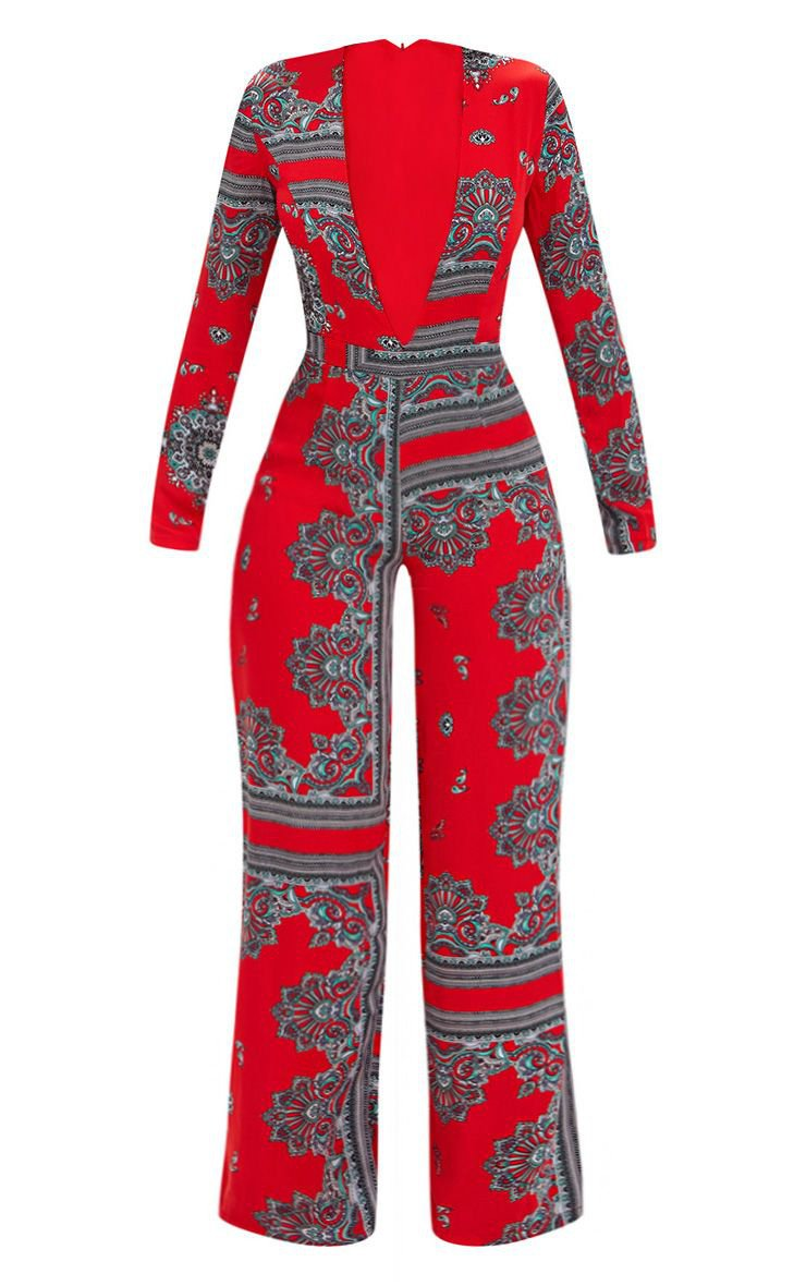 Red Scarf Print Long Sleeve Plunge Jumpsuit | PrettyLittleThing