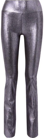 Metallic Leather Flared Pants - Silver