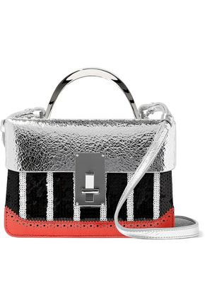Sequined textured and metallic cracked-leather shoulder bag | THE VOLON | Sale up to 70% off | THE OUTNET