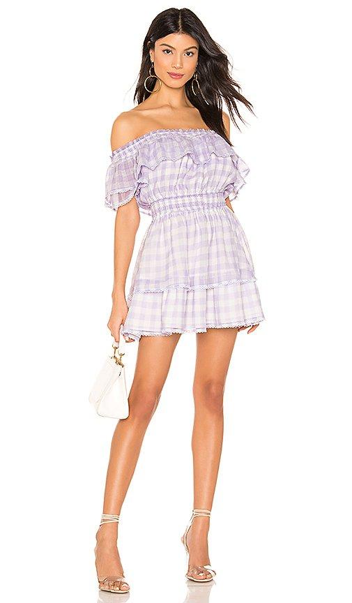MAJORELLE Ashlee Mini Dress in Purple Gingham | REVOLVE