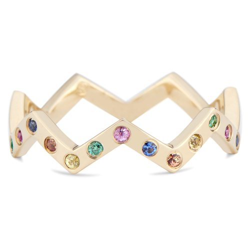 Lucia 14k Gold Rainbow Sapphire Thin Stacking Band