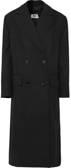 Bow-detailed Double-breasted Cady Coat - Black