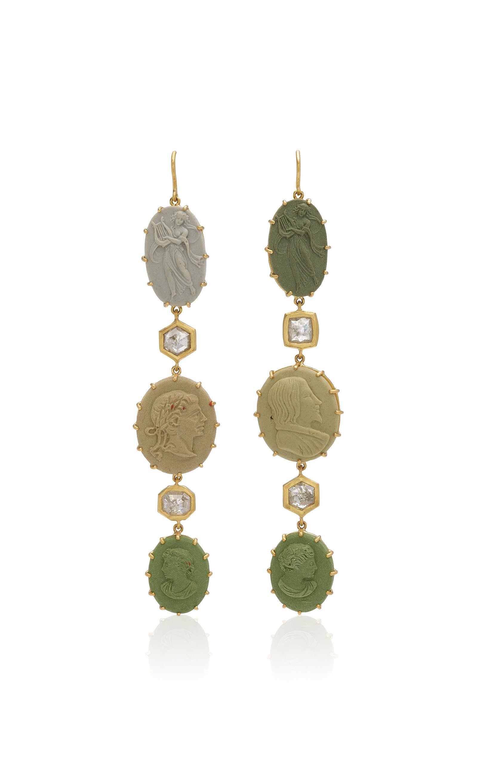 Sylva & Cie One of a Kind 18K Yellow Gold, Lava Cameo and Diamond Earr