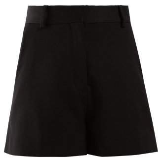 High Rise Tailored Wool Shorts - Womens - Black