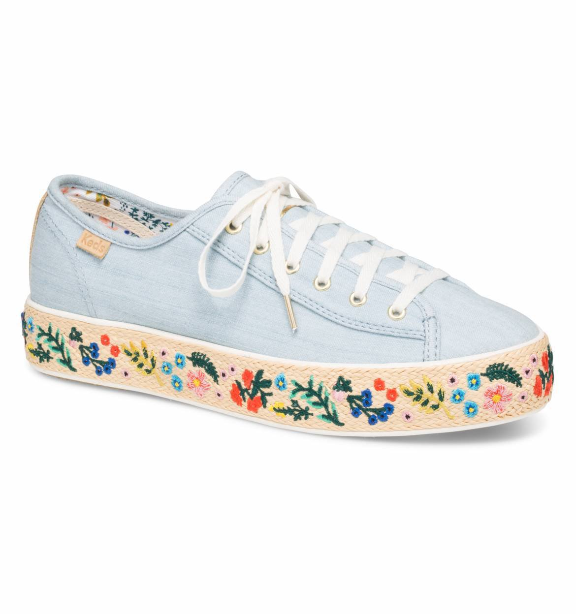 RIFLE PAPER Co. Rosalie Embroidered Jute Triple Kick Sneaker by Keds | Imported