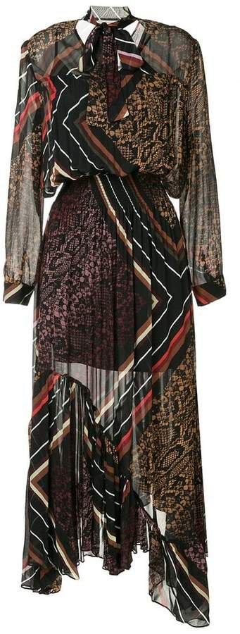 multi-print asymmetric dress