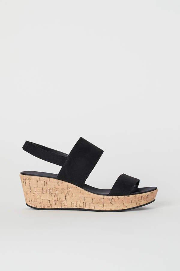 Wedge-heel Sandals - Black
