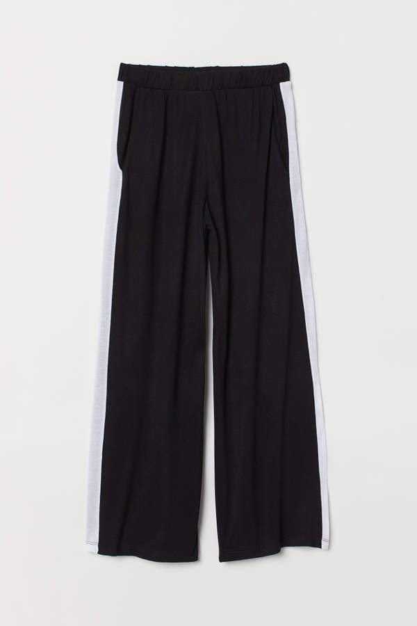 Wide-cut Jersey Pants - Black