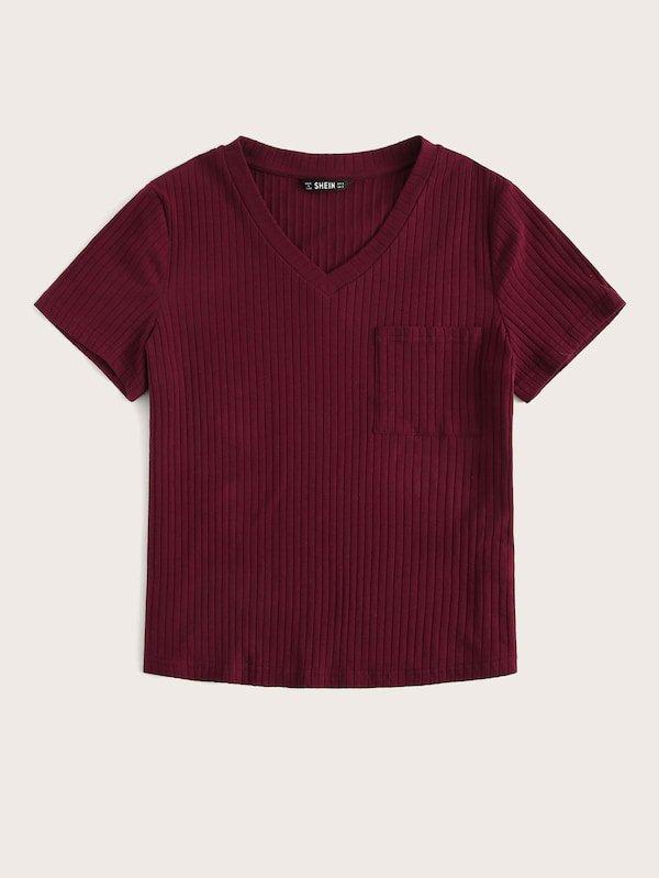 V-neck Patch Pocket Rib-knit Tee