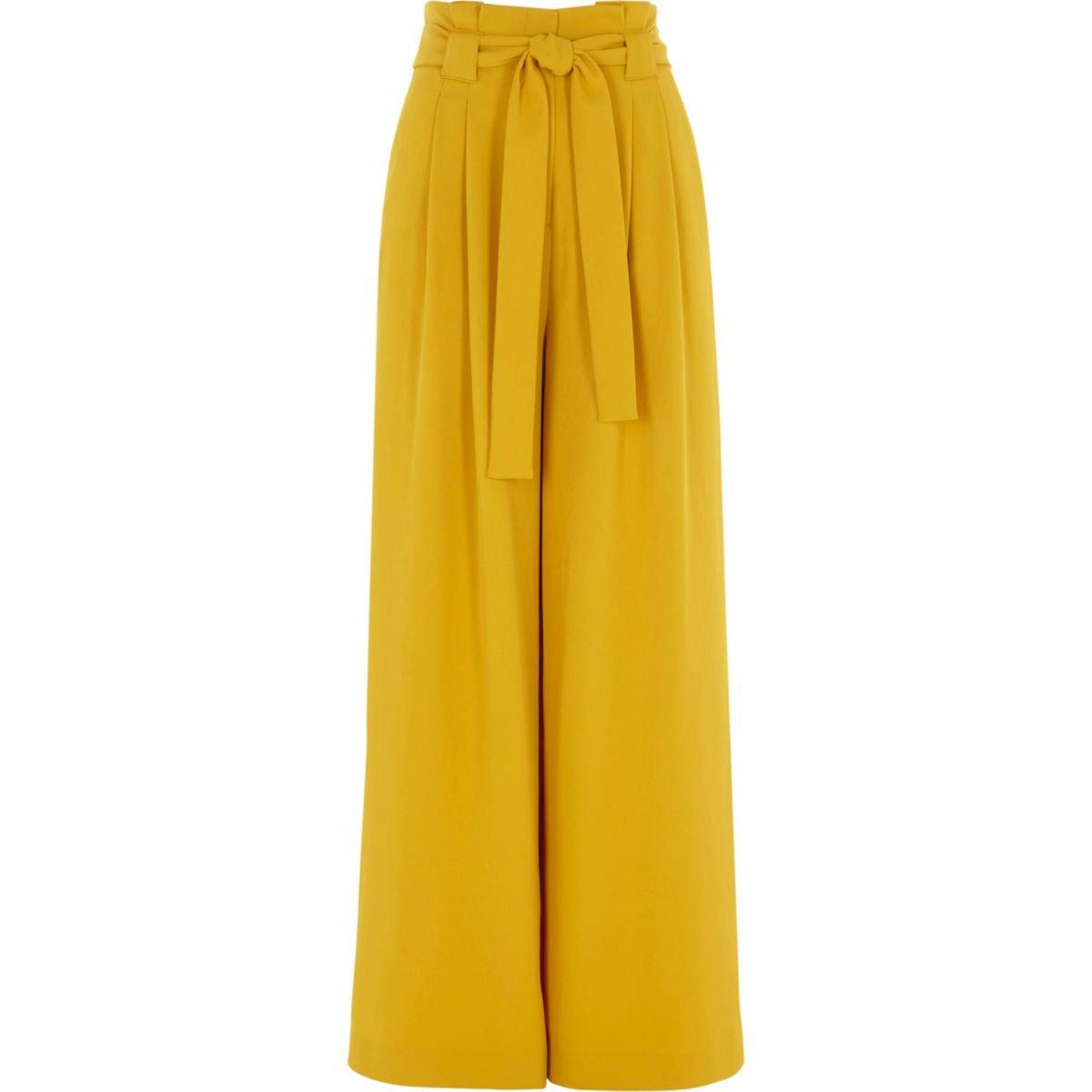 Yellow paper bag waist wide leg pants - Wide Leg Pants - Pants - women