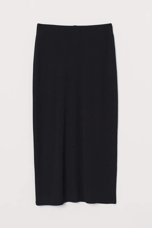 Ribbed Jersey Skirt - Black