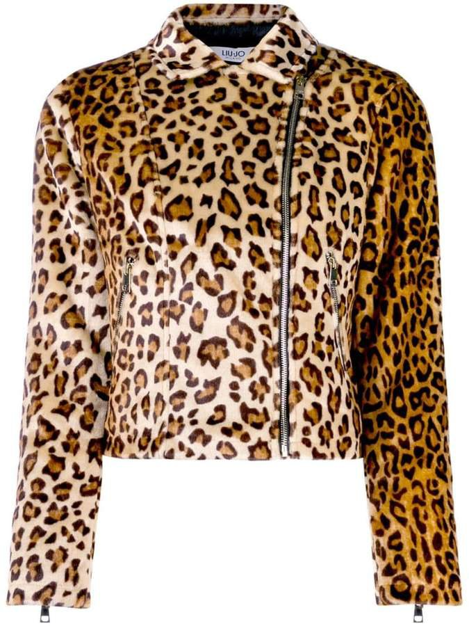 leopard print faux fur biker jacket