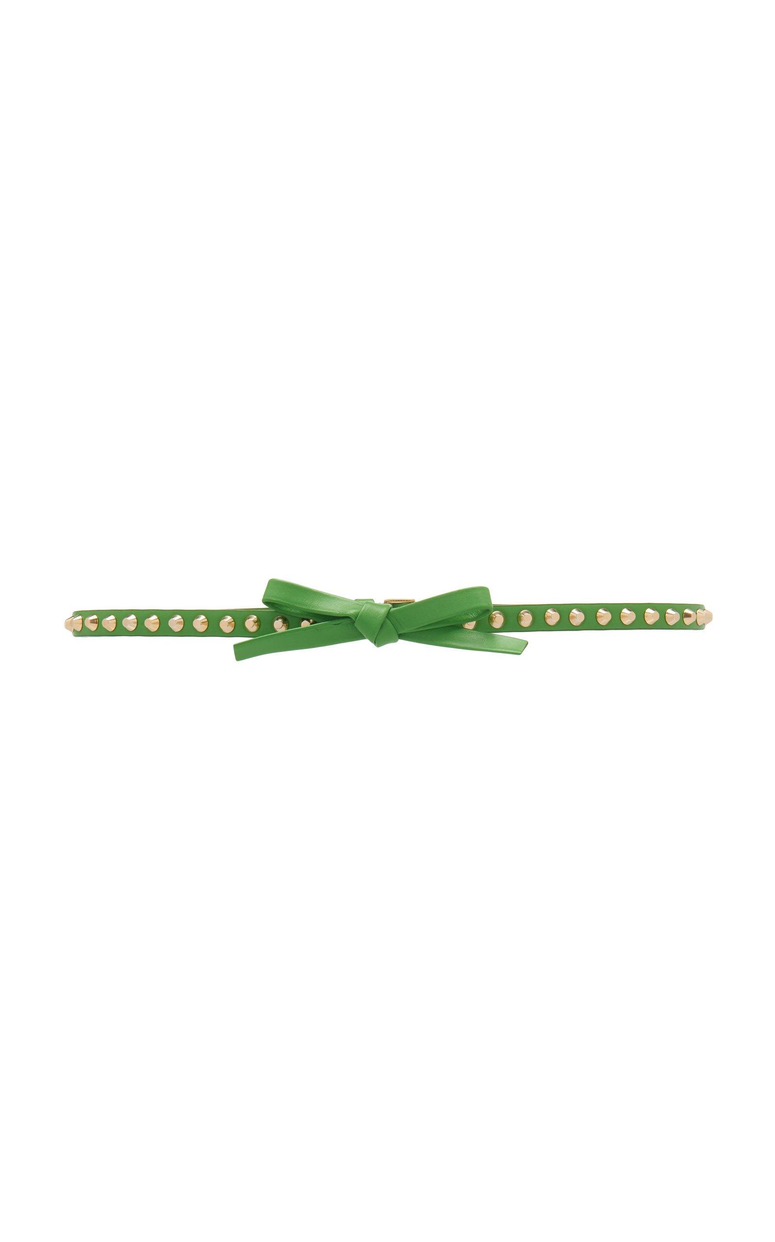 Bow-Detailed Studded Leather Belt by Prada | Moda Operandi