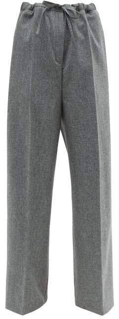 Felted Wool Blend Trousers - Womens - Grey