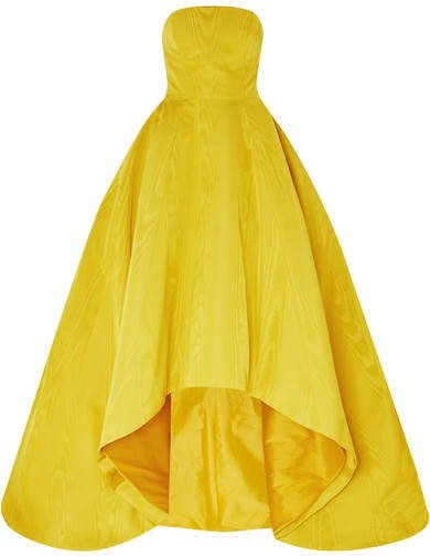 Strapless Asymmetric Cotton-blend Moire Gown - Yellow