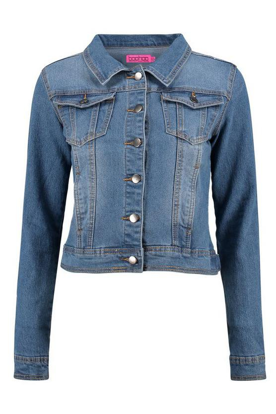 Alex Light Blue Cropped Denim Jacket | Boohoo