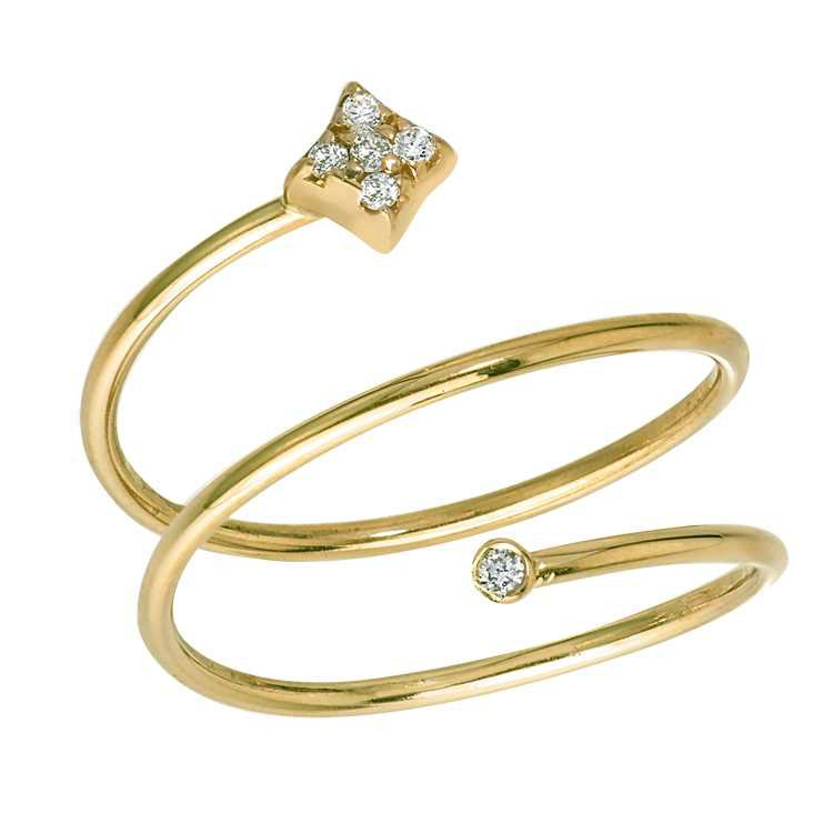 Gianna Coil Ring in 14k Yellow Gold with Diamonds by GiGi Ferranti