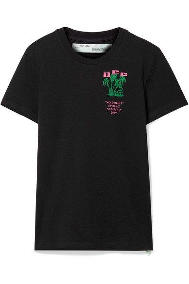 Off-White | Flocked printed cotton-jersey T-shirt | NET-A-PORTER.COM