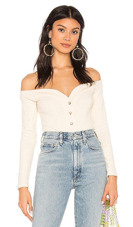 MAJORELLE Buttoned Up Bodysuit in Cream | REVOLVE