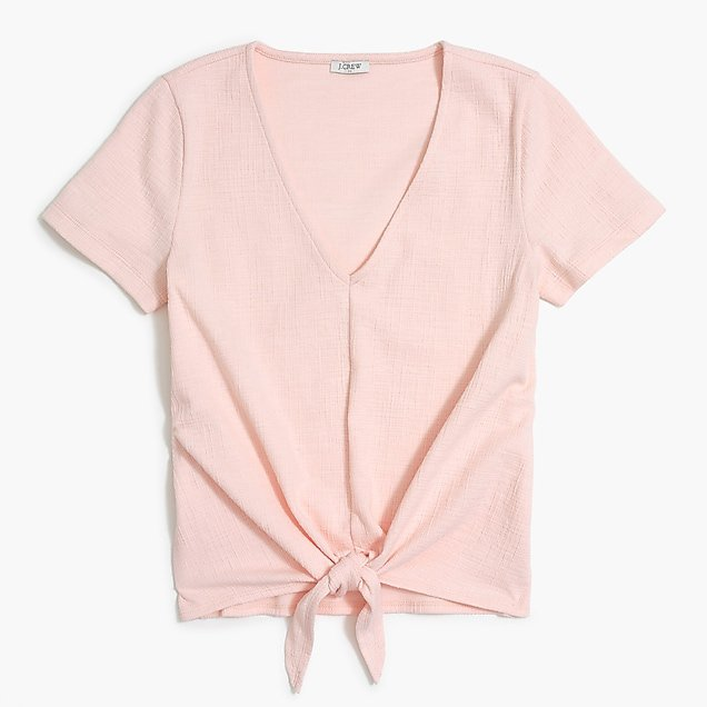 Textured V-neck tie-front T-shirt : FactoryWomen Knits & T-Shirts | Factory