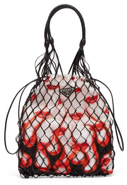 Netted Faux Leather Lipstick Print Bag - Womens - White Multi