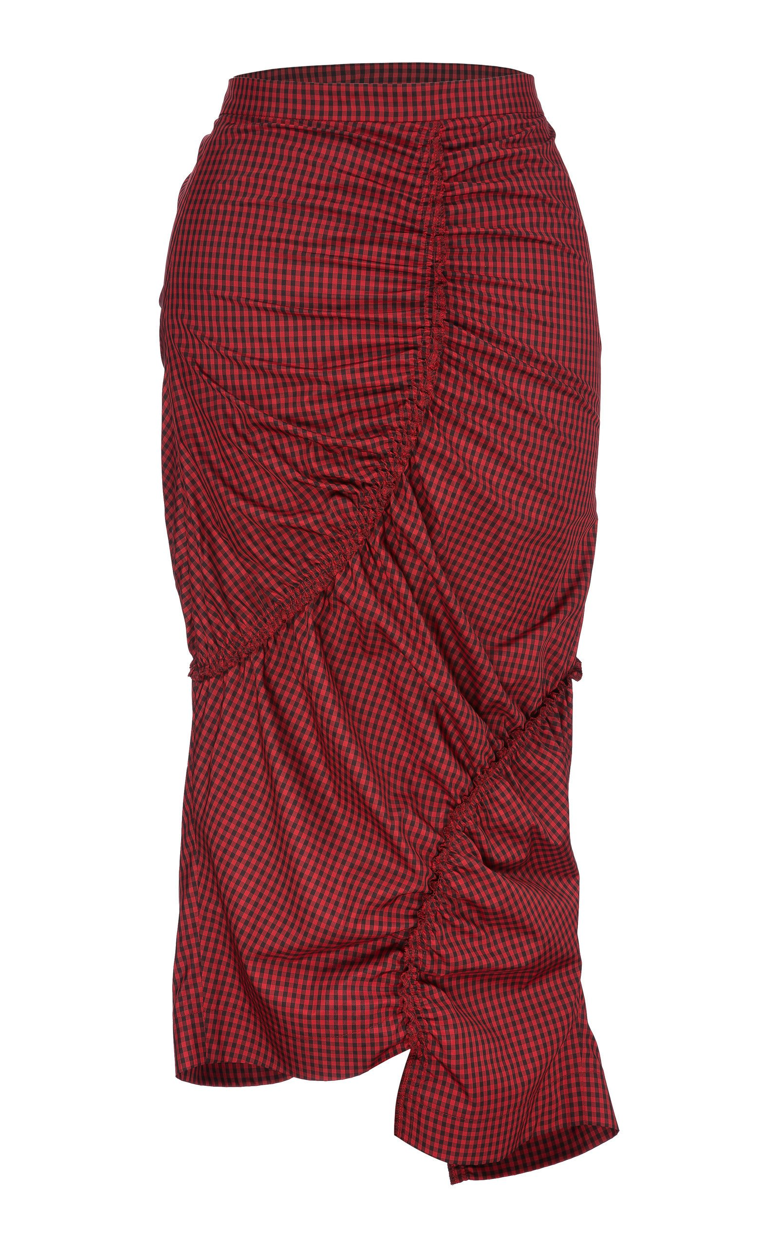 Bourie Rouched Gingham Midi Skirt