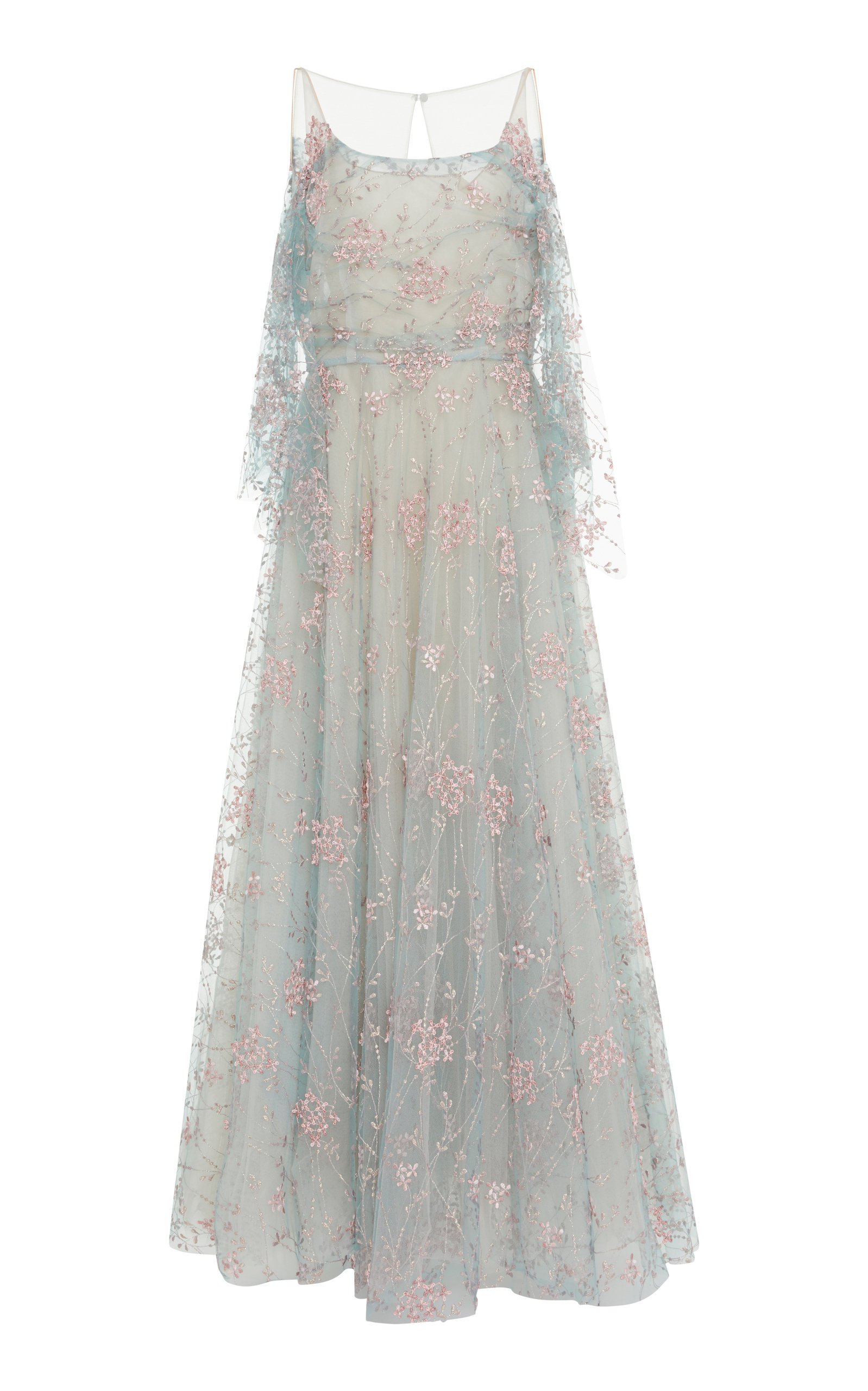 Tulle Embroidered Floral Ball Gown by Luisa Beccaria   Moda Operandi