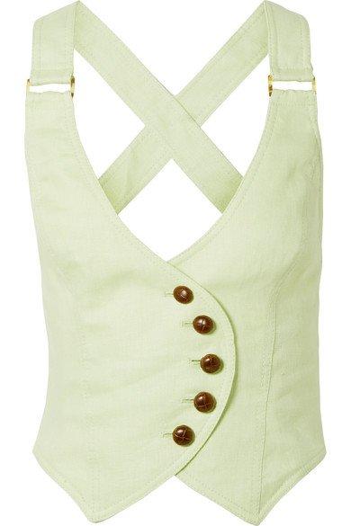 Zimmermann | Corsage cropped open-back linen vest | NET-A-PORTER.COM
