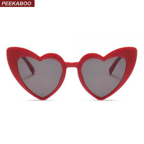 Peekaboo love heart sunglasses women cat eye vintage Christmas gift black pink red heart shape sun glasses for women uv400 - Sunglasses Store