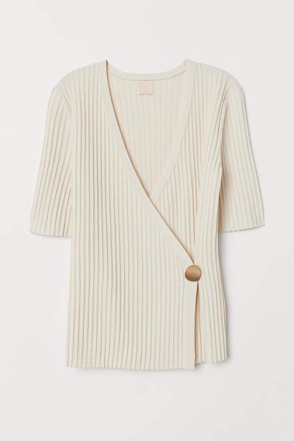 Rib-knit Sweater - White