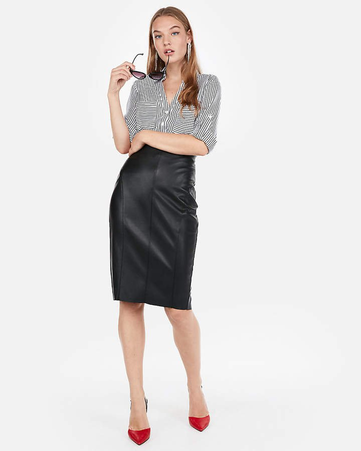 High Waisted Seamed (Minus The) Leather Pencil Skirt