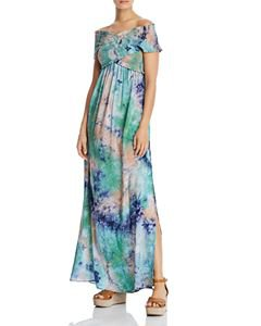 AQUA Smocked Polka Dot Maxi Dress - 100% Exclusive | Bloomingdale's