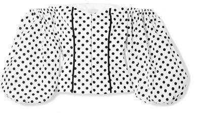 Belen Off-the-shoulder Polka-dot Cotton-blend Poplin Blouse - White