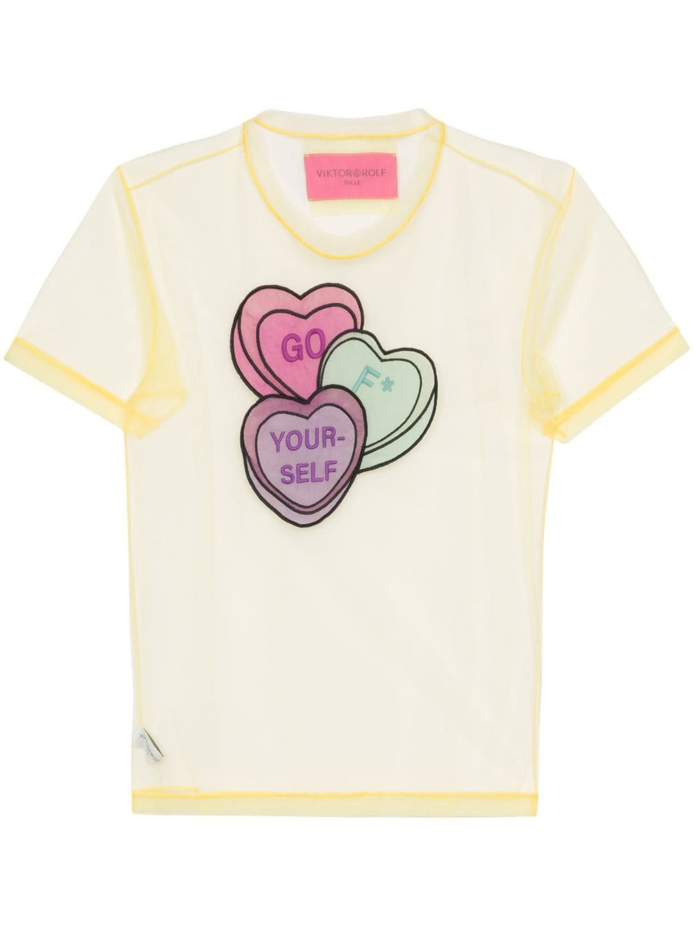 Viktor & Rolf Lovehearts-embroidered Tulle T-shirt | Farfetch.com