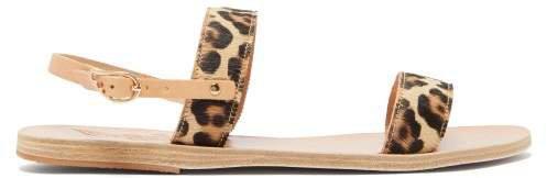 Clio Leopard Print Calf Hair Sandals - Womens - Leopard