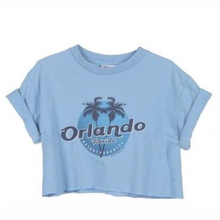 """Blue """"Orlando"""" T-Shirt w/ Rolled Up Sleeves"""