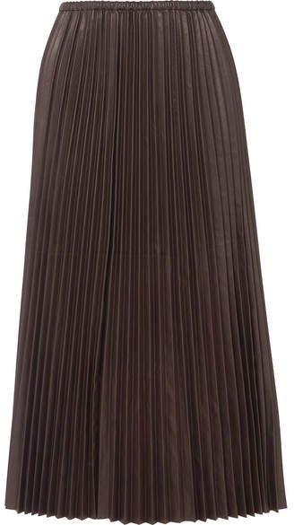 Pleated Leather Maxi Skirt - Black