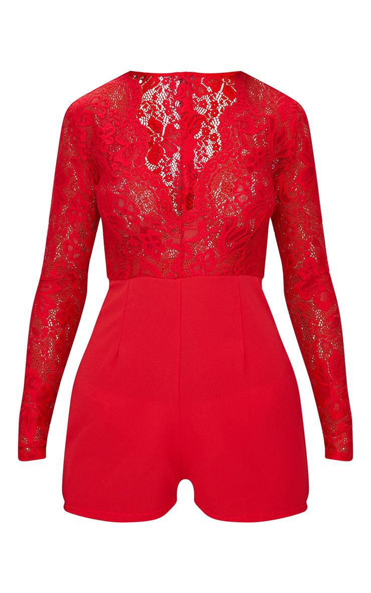 Red Lace Long Sleeve Plunge Romper   PrettyLittleThing USA