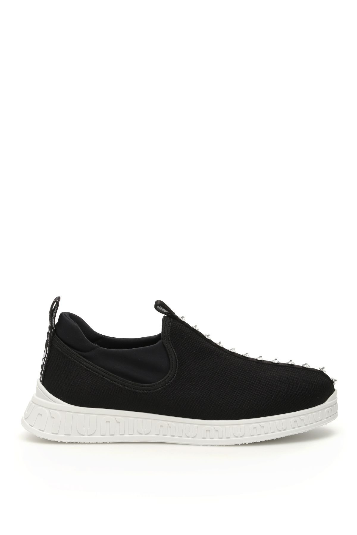 Miu Miu Crystal Stretch Knit Miu Run Sneakers