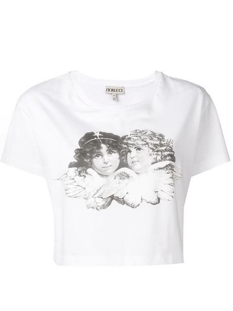 Fiorucci angel print cropped T-shirt $80 - Buy Online - Mobile Friendly, Fast Delivery, Price