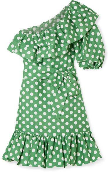 Arden Ruffled One-shoulder Polka-dot Linen Mini Dress - Green