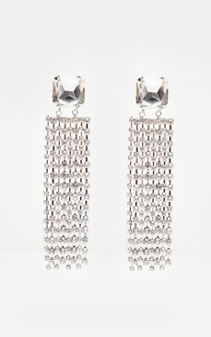 Silver Gemstone Chain Tassel Drop Earrings | PrettyLittleThing