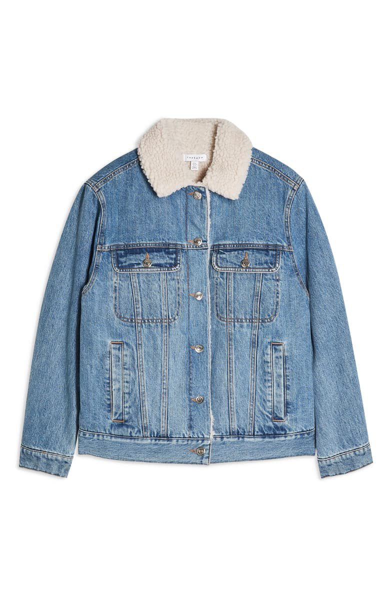 Topshop Oversize Denim Jacket with Faux Shearling Trim