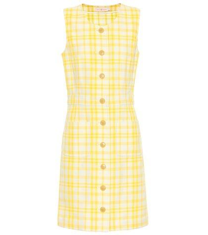 Checked cotton-blend dress