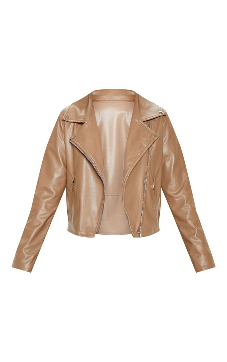 Mocha Pu Zip Biker Jacket   Coats & Jackets   PrettyLittleThing