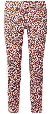 Cropped Printed Cotton-blend Twill Slim-leg Pants