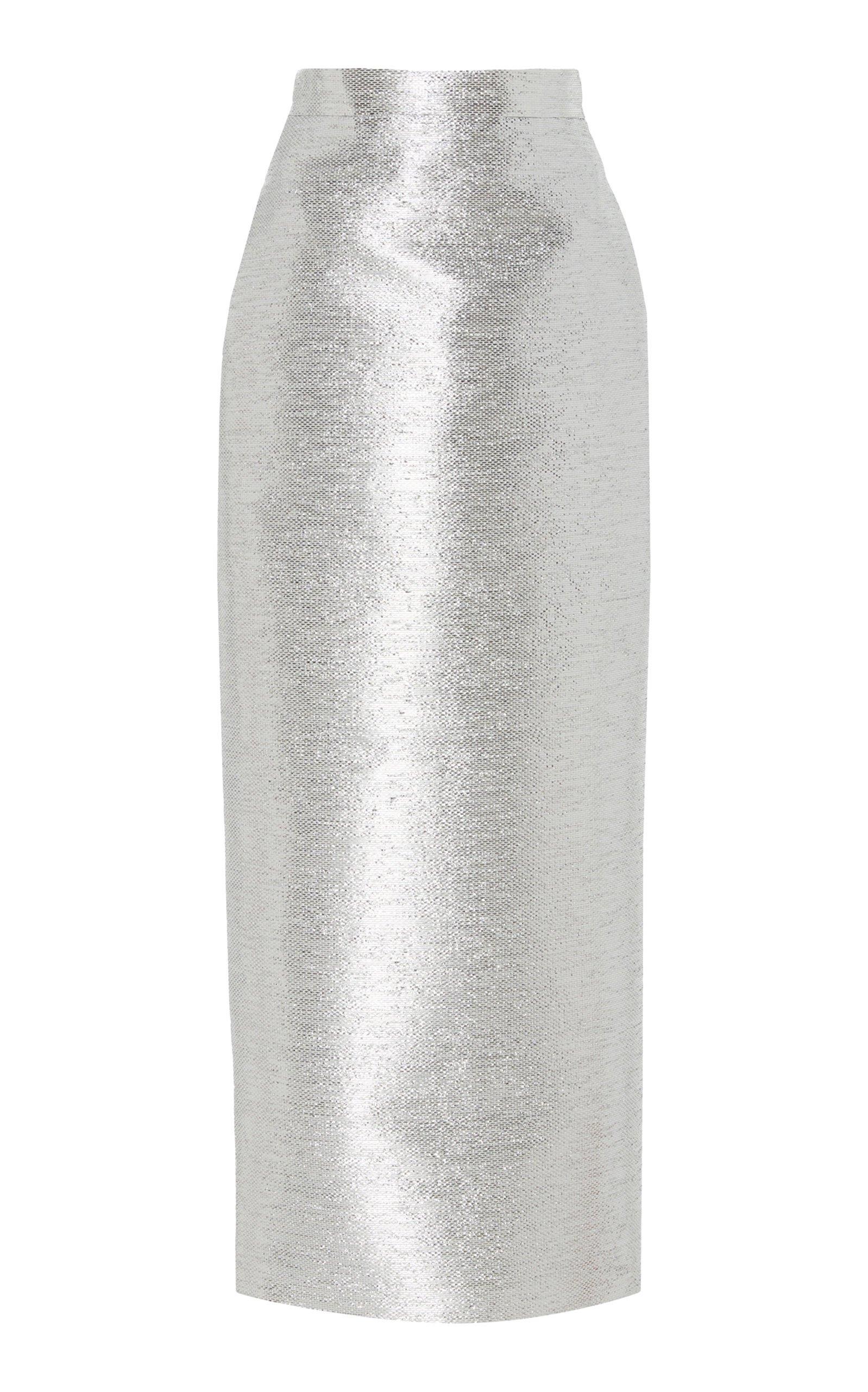 Brandon Maxwell Metallic Tweed Pencil Skirt Size: 14