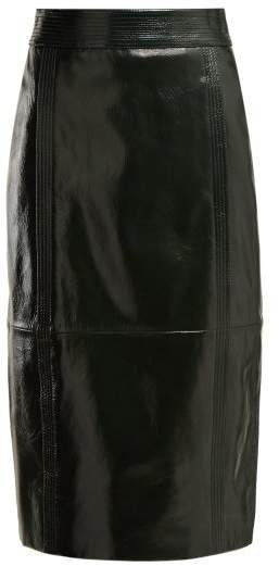 Buttoned Back High Rise Leather Pencil Skirt - Womens - Dark Green